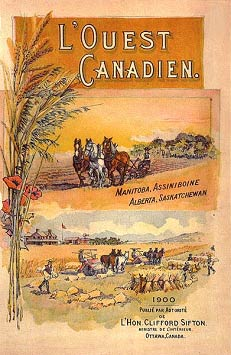 """L'ouest Canadien"", a poster published by the government intended to attract Francophones."