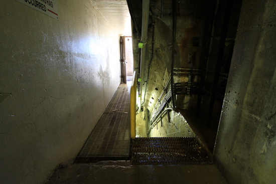 Inside the lift lock below the centre pier of the upper reach the left exit leads to the lower reach and the staircase on the right will allow access to underneath the chambers.