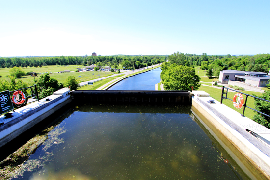 There is such a great view of the Peterborough Lift Lock Visitor Centre and Ashburnham Drive from the upper chamber.