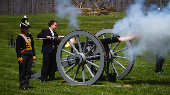 After officially opening the new visitor centre, local MP, Gord Brown, set the afternoon re-enactment battle in motion by firing a cannon to launch the action.