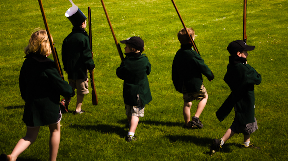 Visiting children were also able to participate in the weekend's activities by taking to the field during the ever popular Children's Mock Battle.