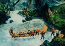 Lithography of Bartlett. Twelve Canadian voyageurs pushing a canoe up a rapid.