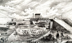 Image of ten workmen with horses and carts, in the process of widening the Lachine Canal.