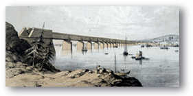 Print presenting a view of the Victoria bridge from the South Shore