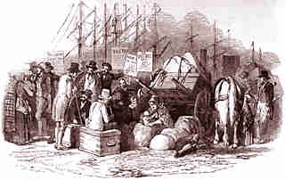 Drawing of passengers waiting for embarking in a port, with all of their possessions