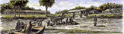 The first installations of the station quarantine on the Grosse Île, in 1832