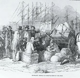 Irish immigrants boarding for the American continent