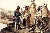 representation of a Voyageur trading with three Indians