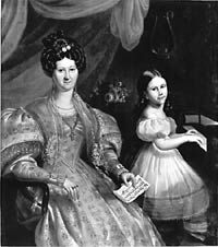 Portrait of Julie Bruneau, the wife of Louis-Joseph Papineau, and their daughter Ézilda, 1836