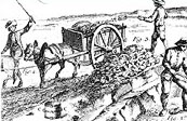 A drawing from 18th. century representing miners extracting bog iron ore from swamps and loading a cart.