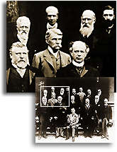 Black and white picture of Chamberlain and the Colonial Prime Ministers with an enlargement of the section where Laurier is.
