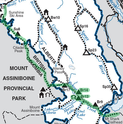 Map of Sunshine, Assiniboine and Bryant Creek area