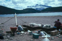 Archaeological site at Lake Minnewanka