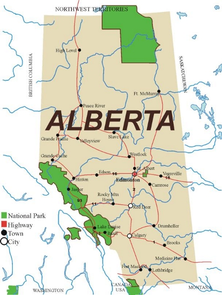 Map of Alberta identifying the location of major cities, towns,  primary roads and national parks.