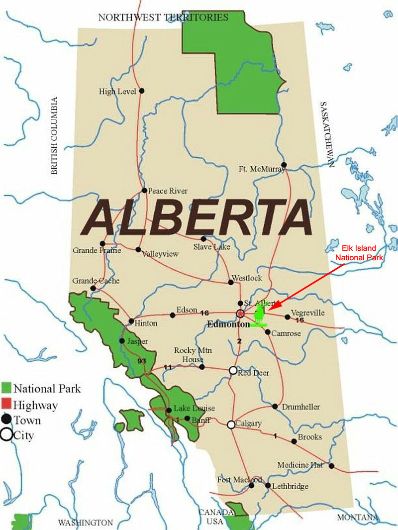 Map of Alberta showing location of Elk Island National Park