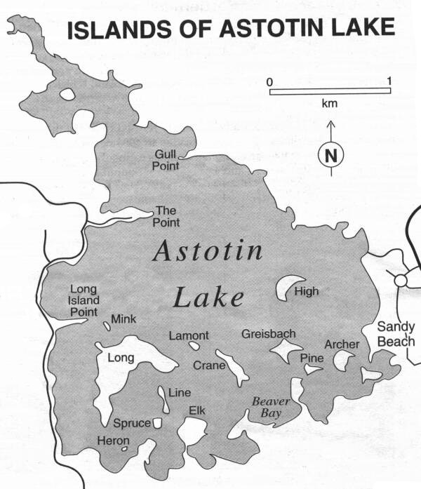 Map of the Islands of Astotin Lake