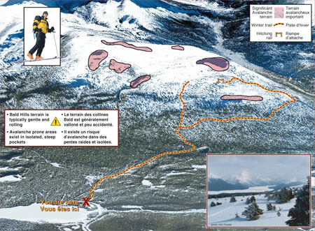 Carte de Colline Bald, parc national Jasper, terrain avalancheux important.  Le terrain des collines Bald est généralement valloné et peu accidenté. Il existe un risque d'avalanche dans des pentes raides et isolées.