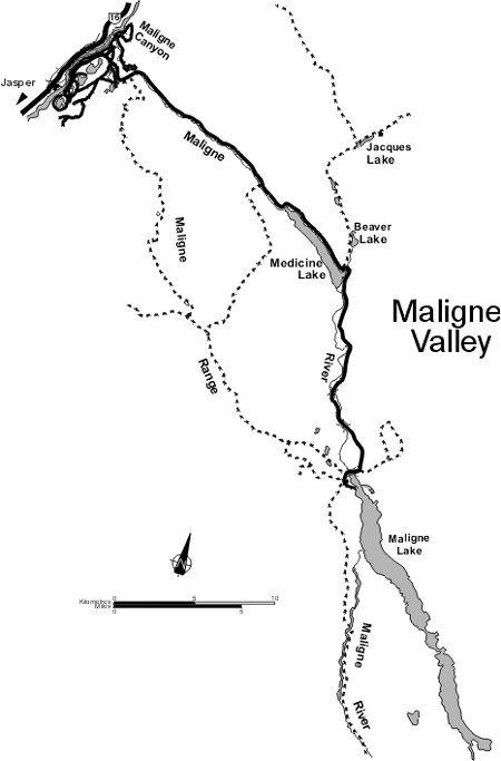 Map of the Maligne Valley, Jasper National Park
