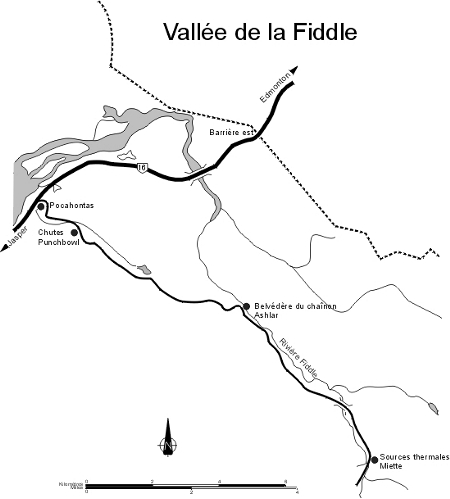 Carte de la vallée de la Fiddle