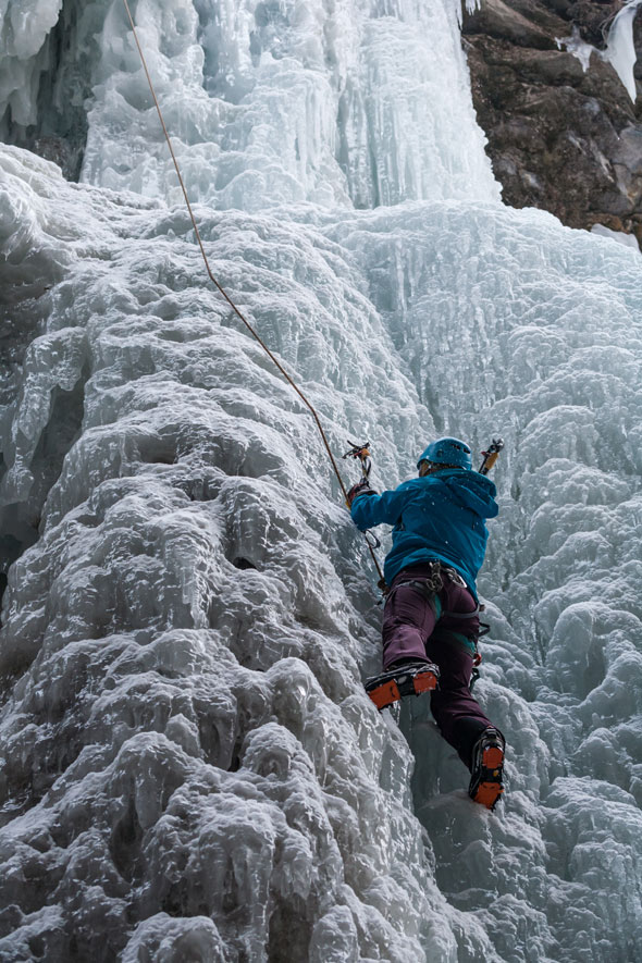 Ice climbers playground in Maligne Canyon