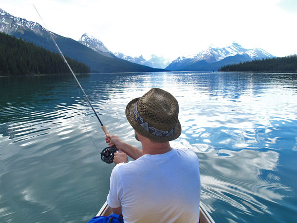 Fishing on Maligne Lake