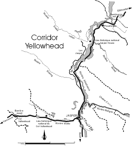 Carte du corridor Yellowhead, parc national Jasper