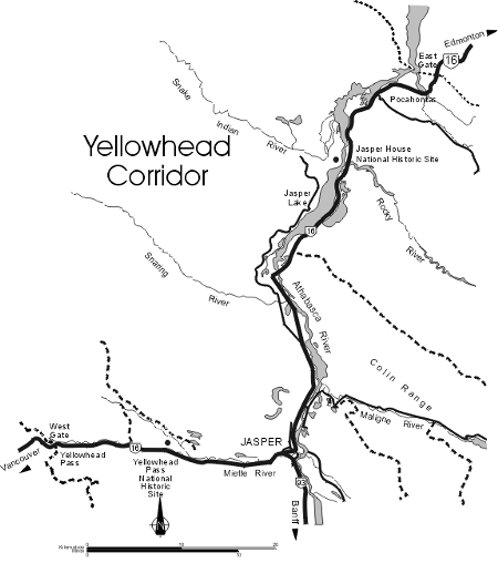 Map of the Yellowhead Corridor, Jasper National Park