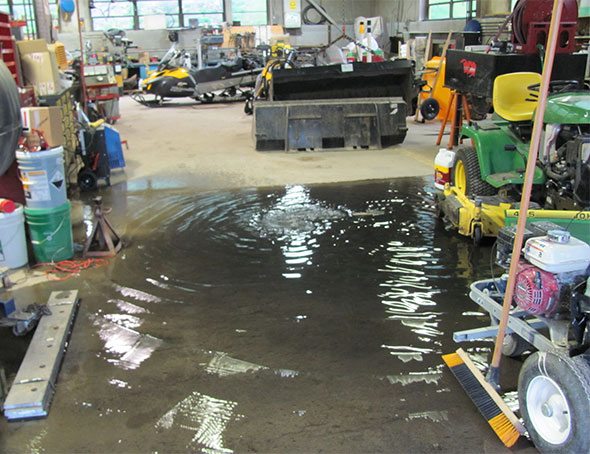 Flooding in Parks Canada garage