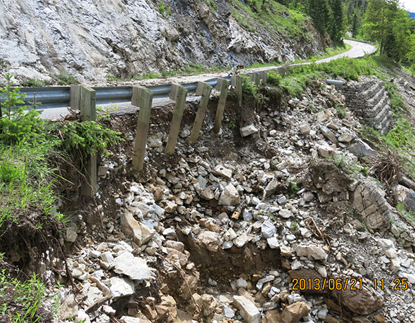 Retaining wall washed away, Site 3