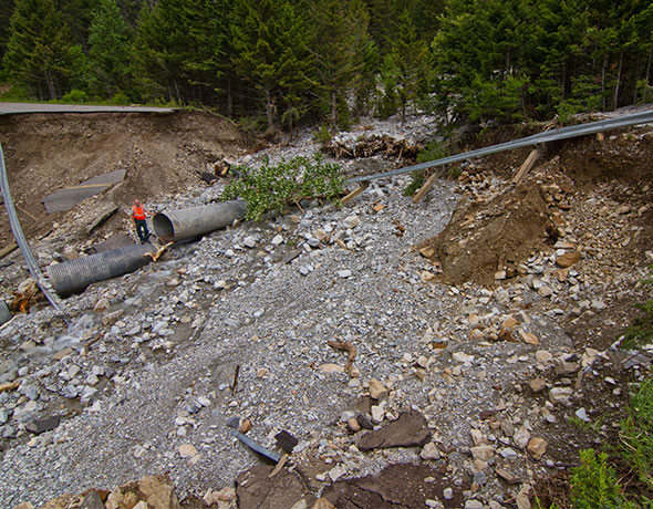 View of large washout, Site 6