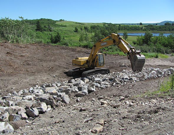 Lagoon bank stabilization