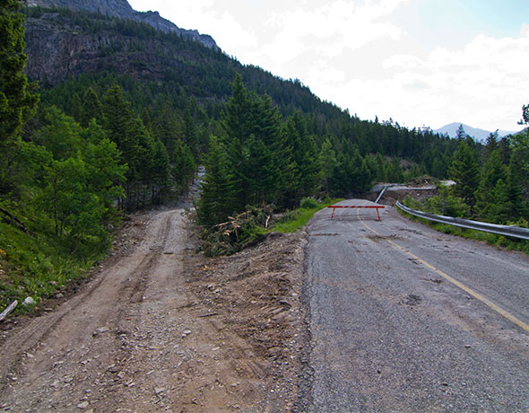 Bypass road past washout