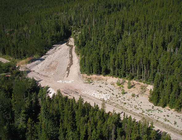 Aerial view of Lineham Creek diversion, Site 8