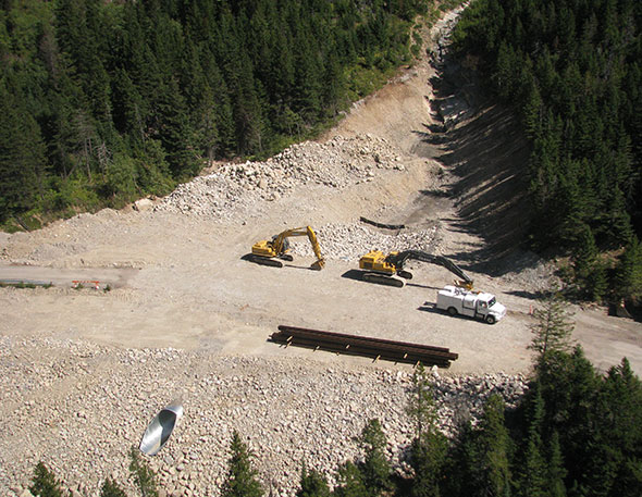 Aerial view of construction progress, Site 6