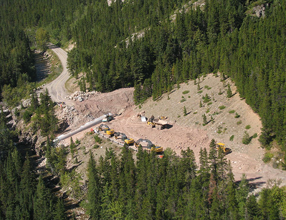 Aerial view of culvert installation, Site 7