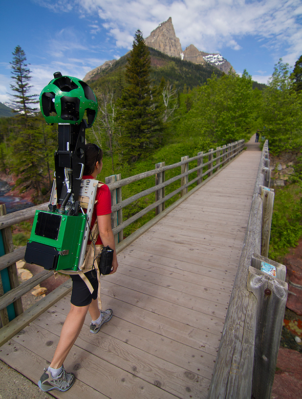 One of Google's Street View camera operators hikes the Waterton trails in June