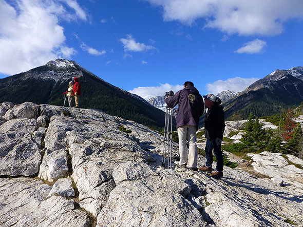 A camera crew from Travel Alberta explore the park in September