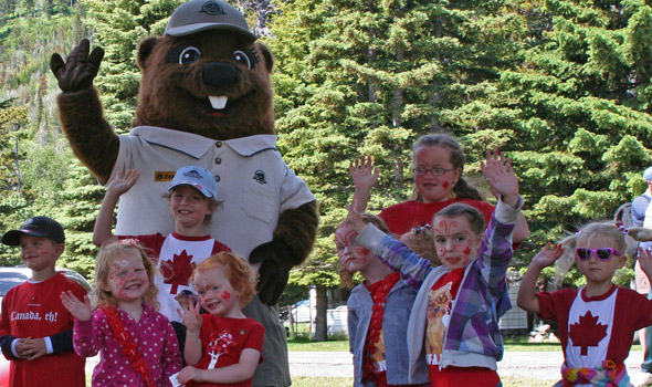 July: Young visitors are excited to meet Parka on Canada Day
