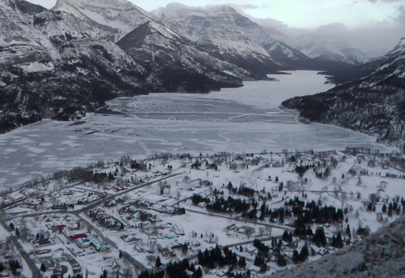 The spectacular view of Waterton townsite and Upper Waterton Lake