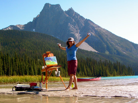 Rossland, BC artist Stephanie Gauvin at work at Emerald Lake