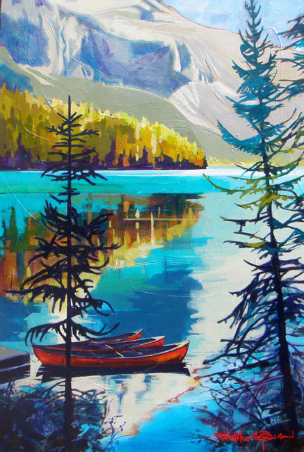 'Emerald Lake Canoes' by Stephanie Gauvin