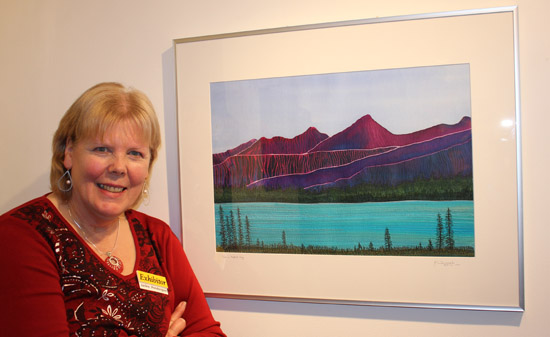 "Jackie Pendergast and ""A Perfect Day""  - silk painting, applique, free motion machine embroidery"