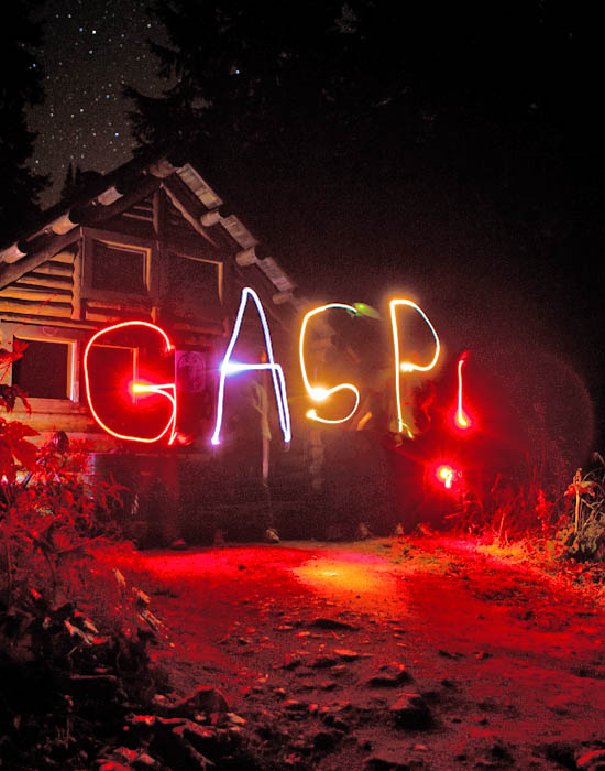 Students spelling out the letters GASP! using flashlights