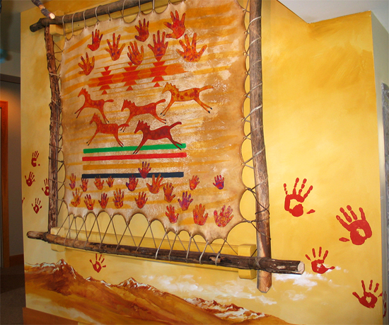 Hand-crafted, stretched elk hide mural