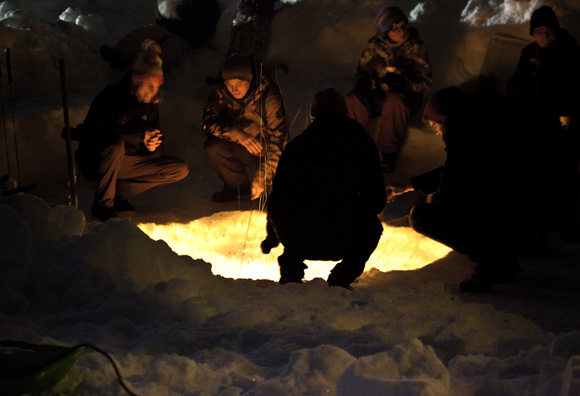 Starlight Snowshoe: Roasting marshmallows around the fire