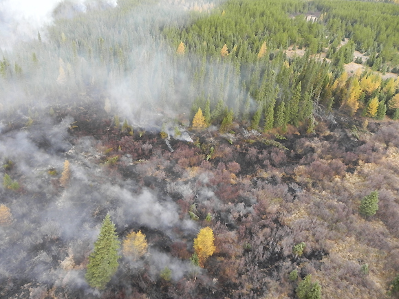 Muskrat Creek wildfire burning - October 9