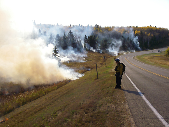 Prescribed burning near Arrowhead Trail