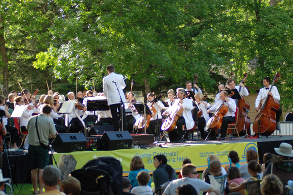 Winnipeg Symphony Orchestra playing a free open air concert in Wasagaming