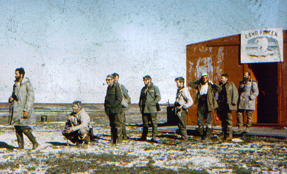 Research group outside Camp Flicek, 1970