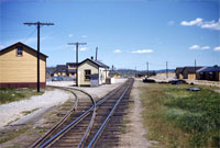 Looking toward the trestle with the train station in the middle, 1953.